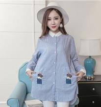 hot deal buy 2017 summer & autumn embroidery cotton maternity shirt new striped patchwork blouse tops clothes for pregnant women sz7111