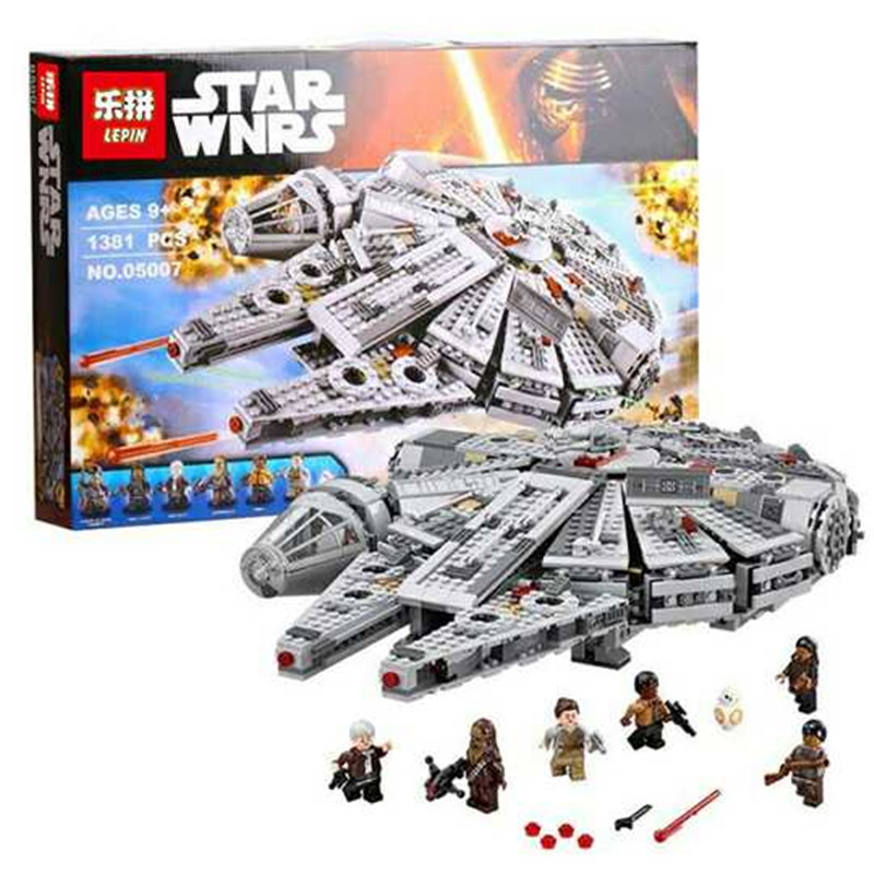 LEPIN 05007 Star 1381pcs Series War Building Blocks Brick Children Toy Awakens Millennium Falcon Model Compatible 10467 lepin 05007 stars series war 1381pcs force awakens millennium toys falcon diy set model building kits blocks bricks children toy