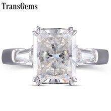 TransGems Luxury Genuine 14K 585 White Gold 4ct 8X10mm FG Color Radiant Cut Moissanite Engagement Wedding Ring For Women