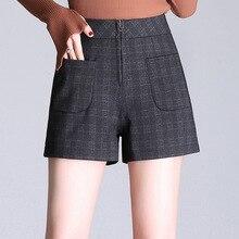 Shuchan New Autumn Winter High Waist Shorts Women Chic Office Blend Korean Loose Slim Short Pants Big Size