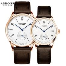 AGELOCER бренд Швейцария часы Любители часы люксовый Для женщин Для мужчин платье часы кожаный Наручные часы модные Повседневное часы золото