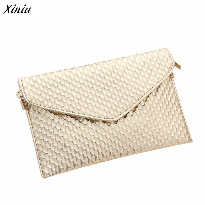 Xiniu Women Handbag Envelope-Shape Plaid Metallic-Color Shoulder-Bag Feminina PU Solid