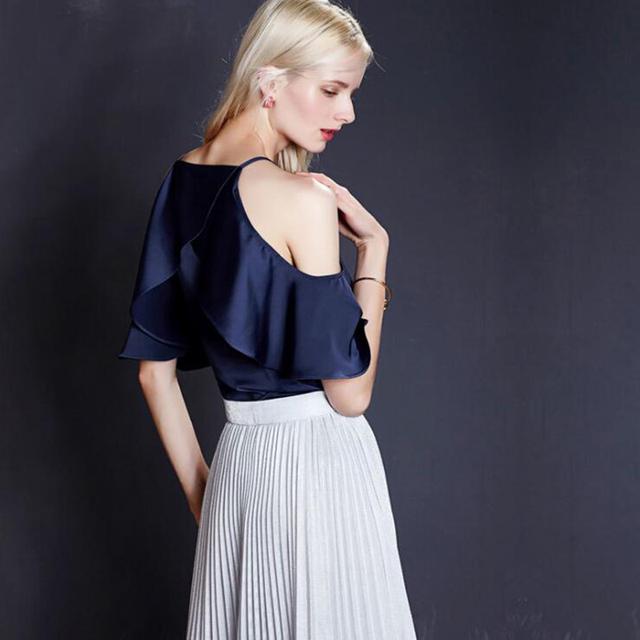 2017 Summer Women Blouse Shirt Casual Blue Striped Shirt Shoulder Off Ruffles Female Tops Sexy Half Sleeve Bodycon Short Blouse