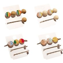 Korean Women Girls Posterior Hair Clips Rainbow Candy Colored Imitation Crystal Hairpins Faux Pearl Button Decorative Barrettes
