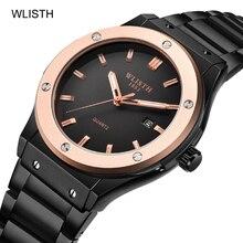 46bbba4f1a4a7 WLISTH أزياء رجالي ساعات الأعلى العلامة التجارية الفاخرة ساعة كوارتز الرجال  عارضة الفولاذ المقاوم للصدأ للماء ساعة اليد Relogio .