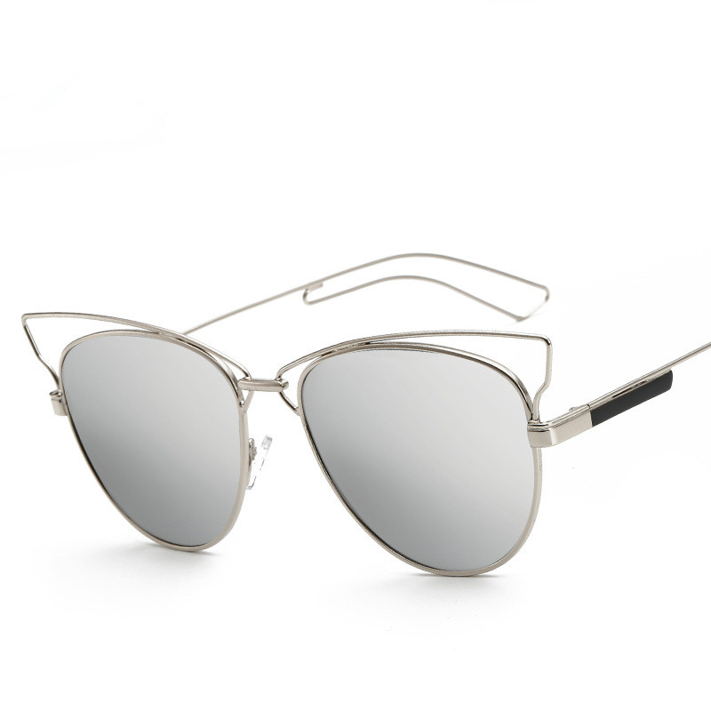 Nye CAT EYE Solbriller Dame Mirror Glasses Metal Frame Designer - Beklædningstilbehør - Foto 4