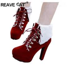 REAVE CAT Women Platform Thick Heel mujer Ankle Boots Woman Round Toe Lace  Up Heels Shoes e24bc3a060a5
