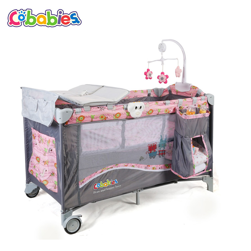 Portable Baby Crib Multi-functional Folding with Diapers Changing Table Travel Child Game Beds For Rocking function of home hang