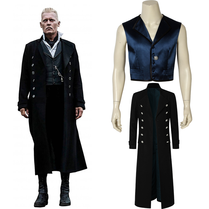 Fantastic Beasts and Where to Find Them 2 Costume Gellert Grindelwald Cosplay Carnival Adult Men Halloween Custom Made Only Coat