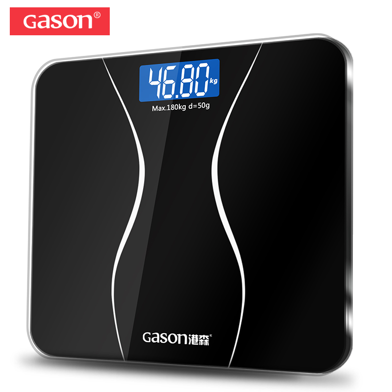 GASON A2 Bathroom Floor Body Scale Glass Smart Household Electronic Digital Weight Balance Bariatric LCD Display 180KG/50G(China)