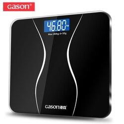 GASON A2 الحمام الطابق مقياس للجسم الزجاج الذكية المنزلية الإلكترونية الرقمية الوزن التوازن السمنة شاشة الكريستال السائل 180 كجم/50 جرام