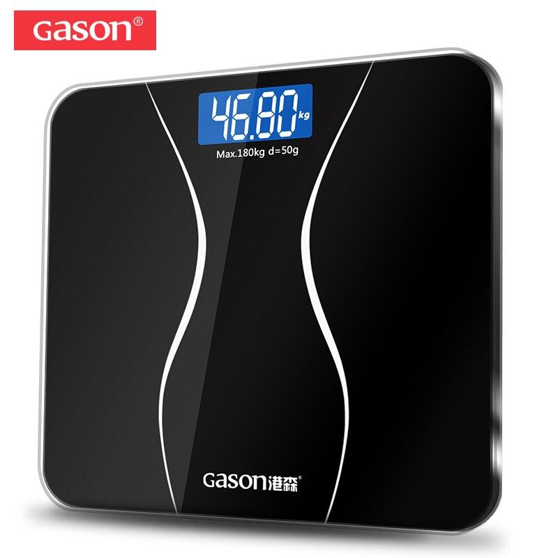GASON A2 Bathroom Floor Body Scale Glass Smart Household Electronic Digital Weight Balance Bariatric LCD Display 180KG/50G