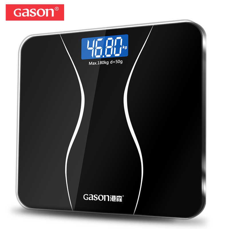 GASON A2 salle de bains plancher corps échelle verre intelligent ménage électronique numérique Balance de poids bariatrique LCD affichage 180 KG/50G