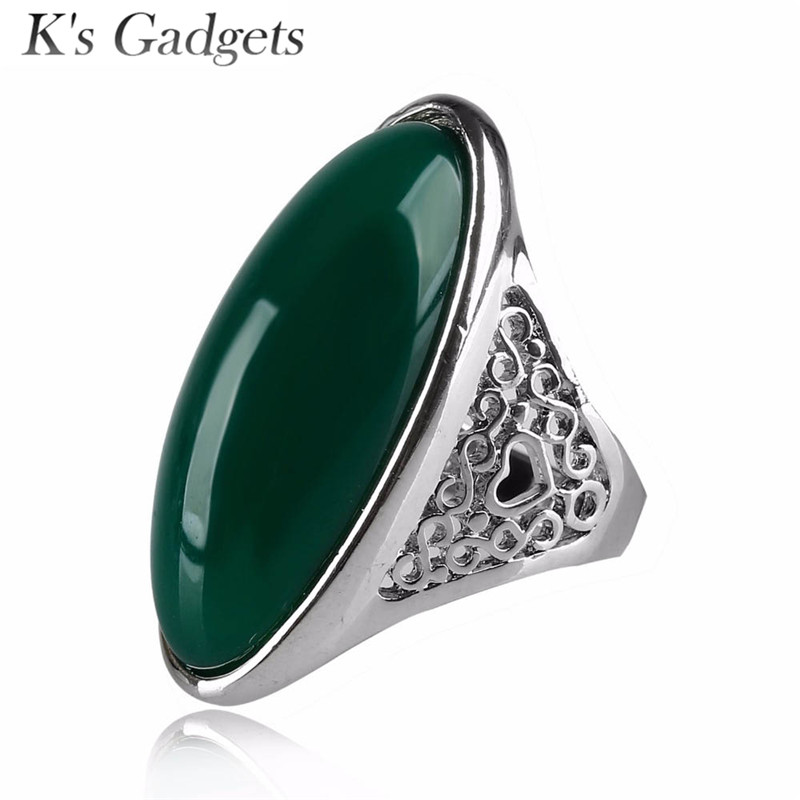 K's Gadgets Resin Stone Ring Fashion Accessories Ancient Way Retro Vintage Natural Stone Jewelry Rings for Women