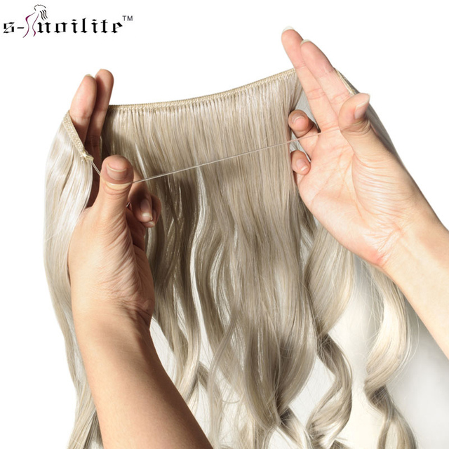 Snoilite 20inches Invisible Wire No Clips In Hair Extensions Secret