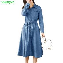 29ed4499730b46 Spring Autumn New Casual Denim Dress Women Korean Loose Long sleeve Shirt  Dresses Female Splice Light blue Cowboy Dresses A684
