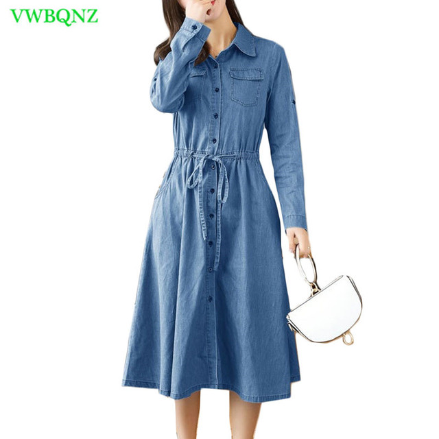 4f252fb8878 Spring Autumn New Casual Denim Dress Women Korean Loose Long sleeve Shirt  Dresses Female Splice Light blue Cowboy Dresses A684