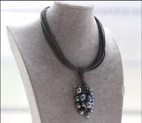 Бесплатная доставка горячие продажи нового Стиль> Новый 15 пряди серый кожаный Павлин черный жемчуг колье ожерелье e2240