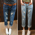 2016 Autumn Outfit Size Cotton cartoon Women Jeans elastic waist Feet Pencil Blue Women Jeans Women Long Pants blue 5XL