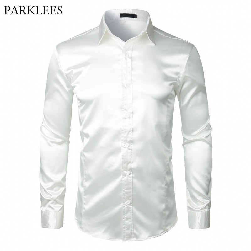 スタイリッシュなホワイトシルクサテンシャツ男性シュミーズオム 2018 カジュアル長袖スリムフィットメンズドレスシャツビジネス結婚式の男性シャツ