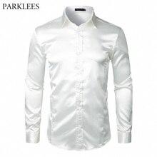 Camisa de cetim de seda masculina, elegante, branca, de 2018, casual, manga comprida, slim fit, para negócios, casamento camisa com camisaCamisas casuais