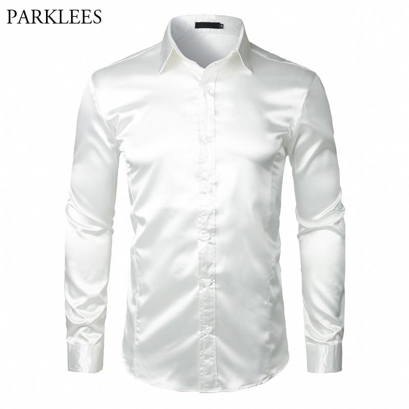 Stylish White Silk Satin Shirt Men Chemise Homme 2018 Casual Long Sleeve Slim Fit Mens Dress Shirts Business Wedding Male Shirt
