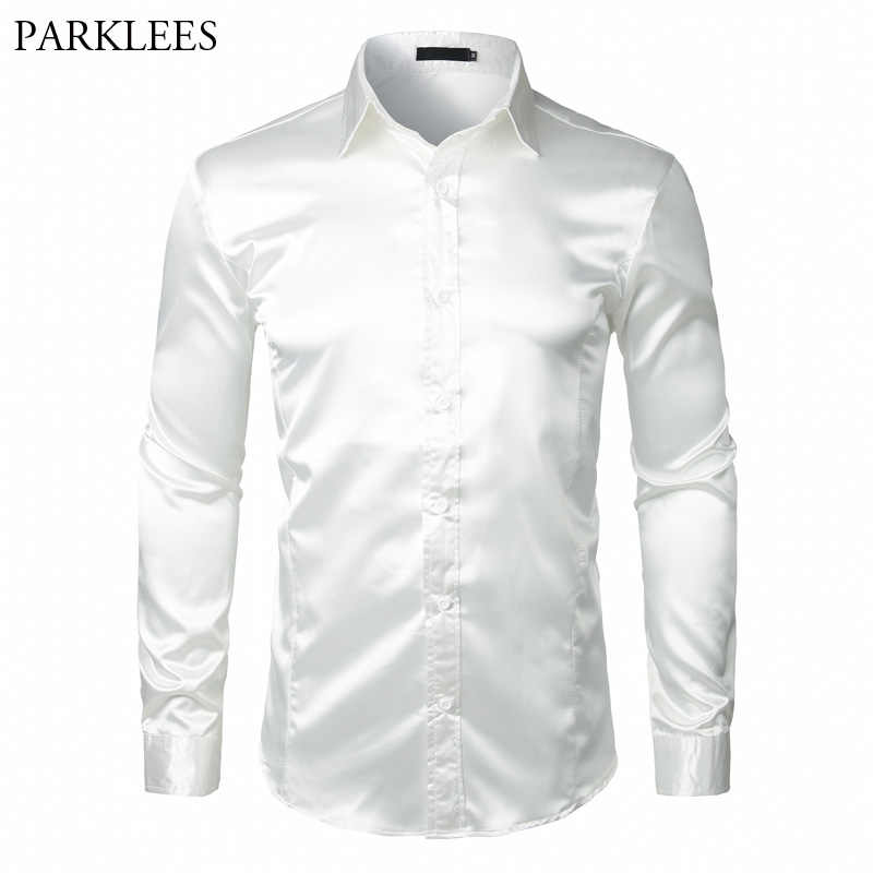Stylish White Silk Satin Shirt Men Chemise Homme 2018 Casual Long Sleeve Slim Fit Mens Dress Shirts Business Wedding Male Shirt