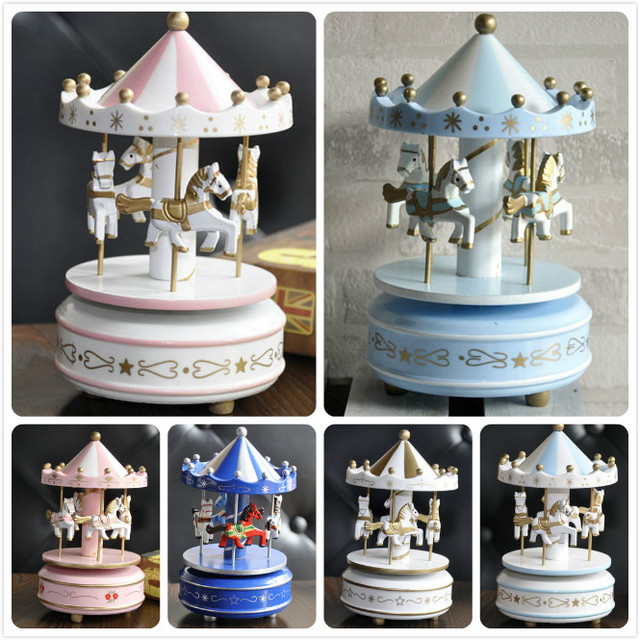 Rosewood Merry-go-round Wood Carousel Music Box Hand Cranked Vintage Sky City Rocking Horse Child Lover Birthday Christmas Gift