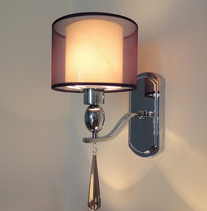 Modern crystal wall lamp fabric abajur sconce bedroom home for Home decorators light fixtures