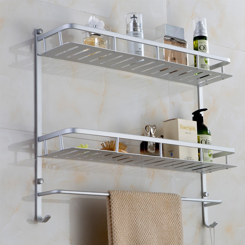 40cm Bathroom Rack Two Layers with Hock Bath Towel Rack Holder Wall ...