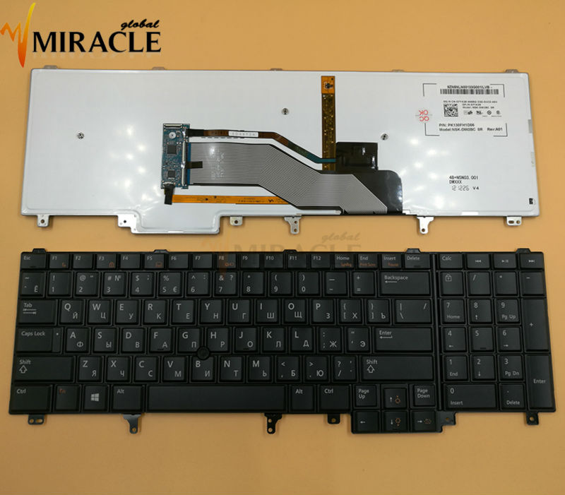 Prix pour Avec rétro-éclairé russe ru clavier Pour DELL E6520 E5520 M4600 M6600 E5530 E6530 M4700 M6700 RU noir laotop clavier Nouveau d'origine