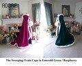 Verde esmeralda/framboesa roxo faux fur wraps nupcial cloaks capes casamento damas de honra para a noite das mulheres outwear com trem da varredura