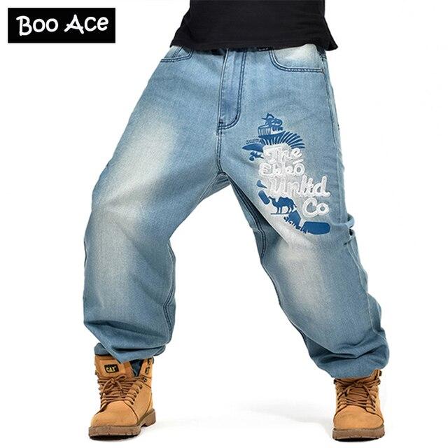 Uomo di hip hop big size baggy jeans tempo libero pantaloni grasso sciolto  pantaloni 216c96a3fad0