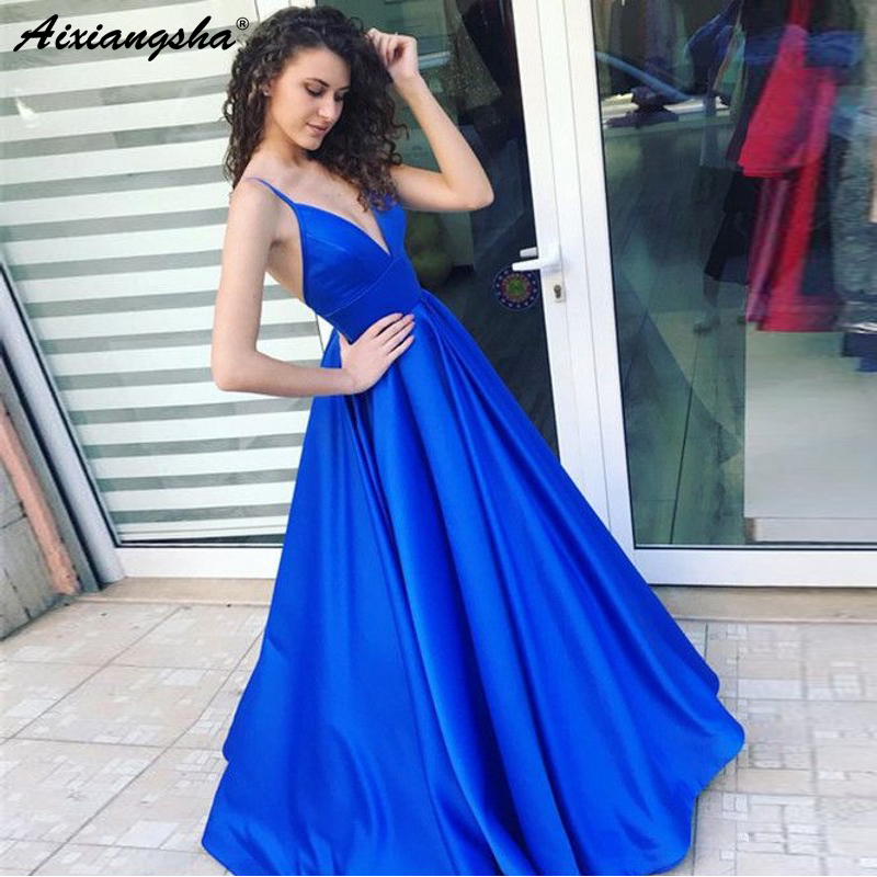 Cheap   Prom     Dresses   A-line Spaghetti Straps Satin V-Neckline Royal Blue Long Formal Evening Party Gown Simple   Prom     Dress