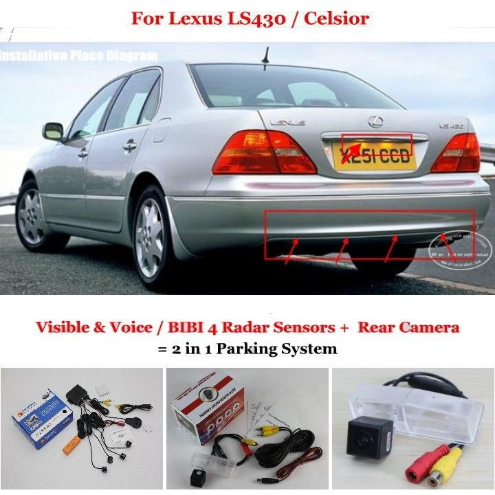 Liislee pour Lexus LS430/Celsior-capteurs de stationnement de voiture + caméra de recul = système de stationnement d'alarme visuelle/BIBI 2 en 1