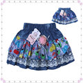 2016 Brand New Summer Jeans Girls Skirts for 3-6 Years Kids Printed Cotton Bow Pleated Skirt Baby Girls tutu skirts