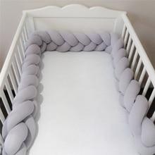 200 см детская кровать бампер с узелком, длинная ручная работа, плетеная плюшевая детская защита для кроватки, детская подушка с узелком, декор для комнаты