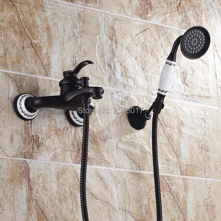 Bathroom Black Shower Set Wall Mounted Ceramic Bathtub Hand Shower Solid Brass Black Bronze Shower Mixer Crane ZR038 1 piece free shipping anodizing aluminium amplifiers black wall mounted distribution case 80x234x250mm