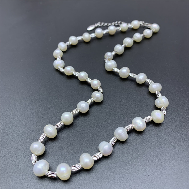 Hot Womens jewellery 925 Silver Bead Natural Big Pearl 45cm Necklace bridal jewelry necklace female white wedding gifts 2019 new