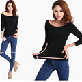 Brand New 6XL Plus Size Cotton Black Fashion Slim Sexy Slash Neck Off Shoulder Summer Women Shirts Poleras De Mujer Modal 2015