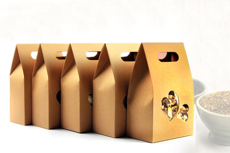 101556cm 50pcs stand up heartshaped window kraft paper bags boxes recyclable wedding gift jewelry food package paper box - Stand Up Jewelry Box