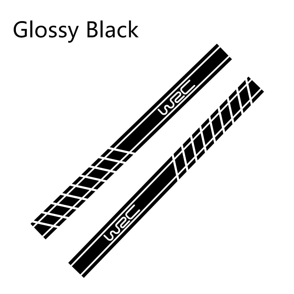 2 шт., 220 см x 16 см, длинные полосатые наклейки для автомобиля, автомобильные боковые юбки, наклейки для самостоятельного изготовления, наклейки для гоночных спортивных стикеров, аксессуары для тюнинга автомобиля - Название цвета: Glossy Black