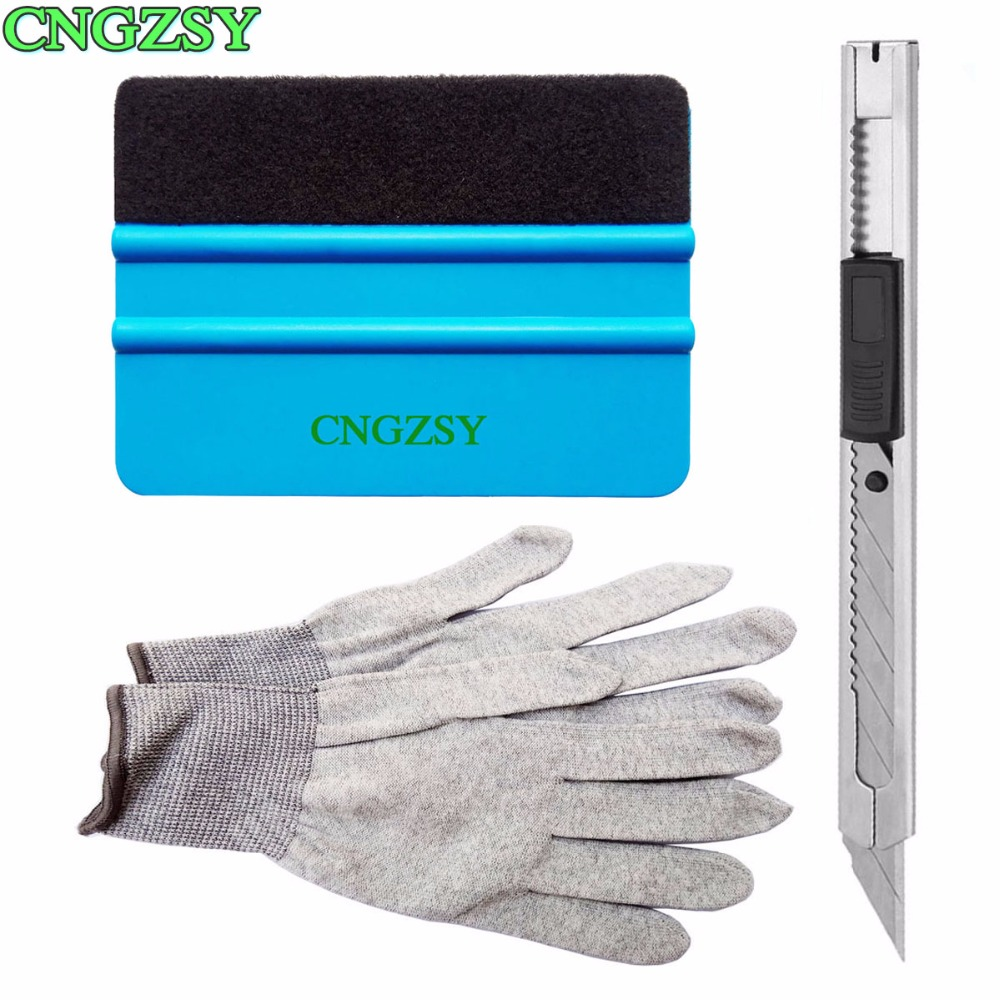 Useful Wrap Scraper Set Kit plastic soft squeegee snap-off art knife anti-static gloves Car Home Tint Car Window Film Tools K20