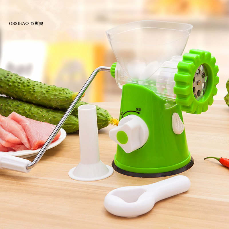 OSSIEAO Manual Meat Grinder Quality Multifunctional Home Manual Meat Grinder For Mincing Meat Vegetable Spice Hand-cranked Meat bear 220 v hand held electric blender multifunctional household grinding meat mincing juicer machine