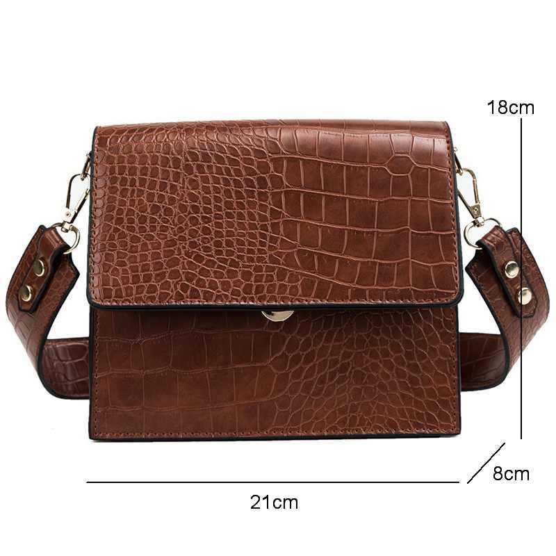 61187bd4db18 ... Diinovivo новая крокодиловая кожа женская сумка модный трендовый узор квадратные  сумки на плечо женские новые сумки