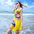 2015 Новое Прибытие Пляж полотенца Дамы Сексуальные женщины шарф Супер шифон длинный мыс платок солнце цветок cachecol женщина для бесплатная доставка