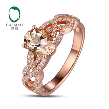CaiMao 18KT/750 Rose Gold 1.79 ct Natural Morganite 0.35ct Round Cut Diamond Engagement Ring Jewelry