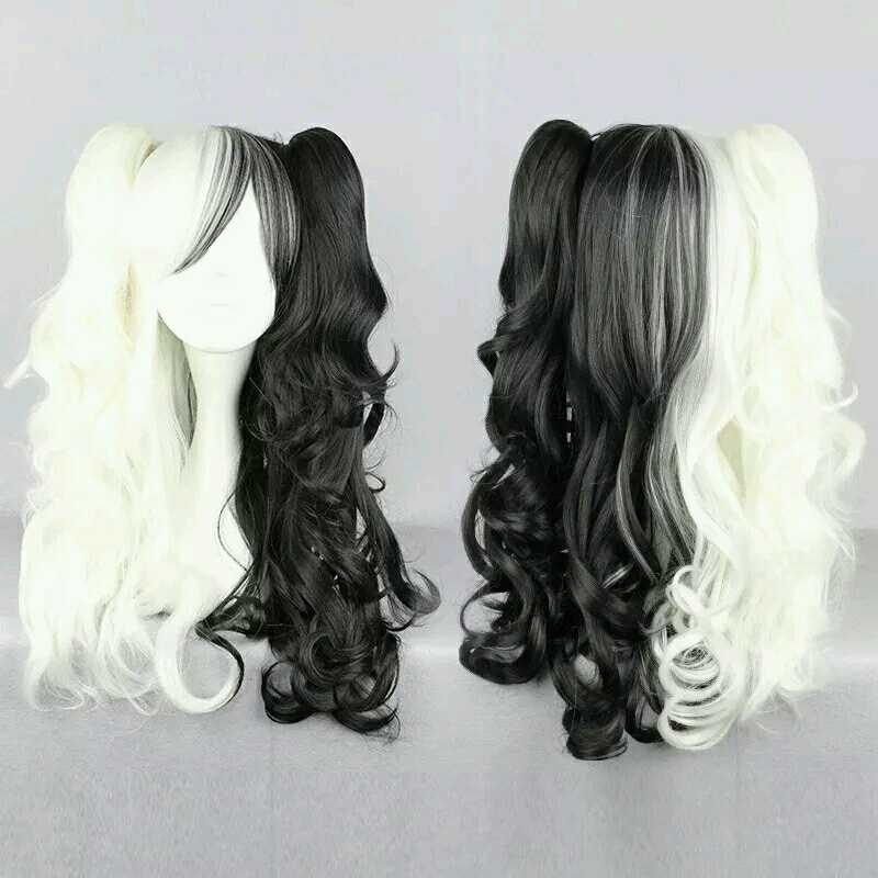 Danganronpa Monokuma Women Ponytails Curly Wig Cosplay Costume Dangan Ronpa Long White Black Heat Resistant Synthetic Hair Wigs