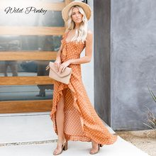WildPinky Vintage Polka Dot Print Summer Dress Ruffle Sexy Long Bohemian Women Holiday Beach Female Vestidos