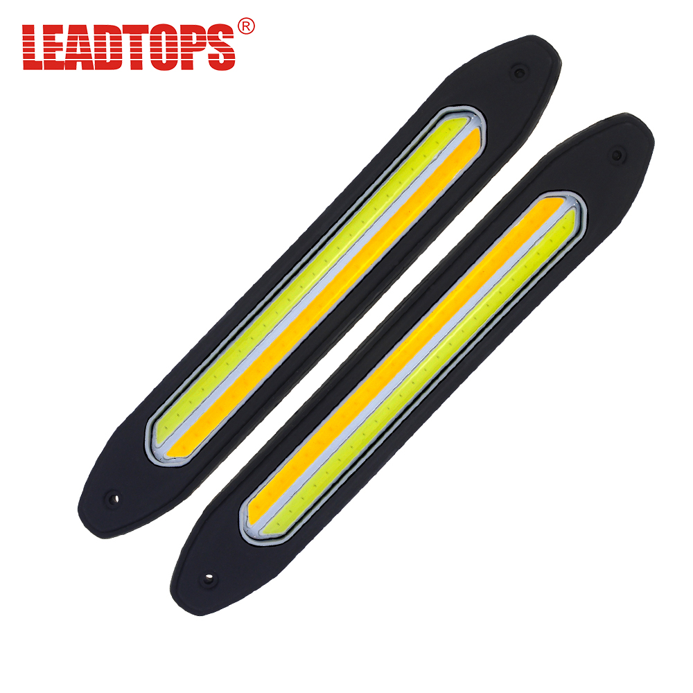 LEADTOPS 2Pcs Auto Led Light COB Daytime Running Lights +Turn Signal FogLight Flexible DIY DRL Silicone Waterproof LED 12V CJ